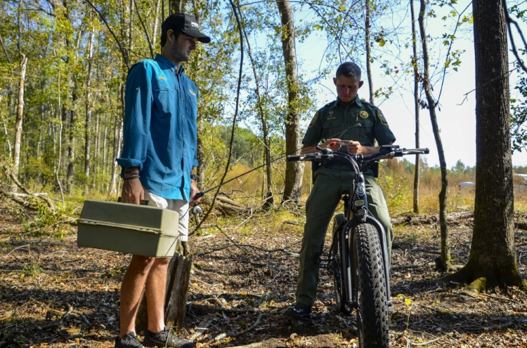 The Pedego bike will help Officer Jeff Day and his colleagues in the SCDNR cover more ground quickly and quietly on WMA properties and other remote areas.