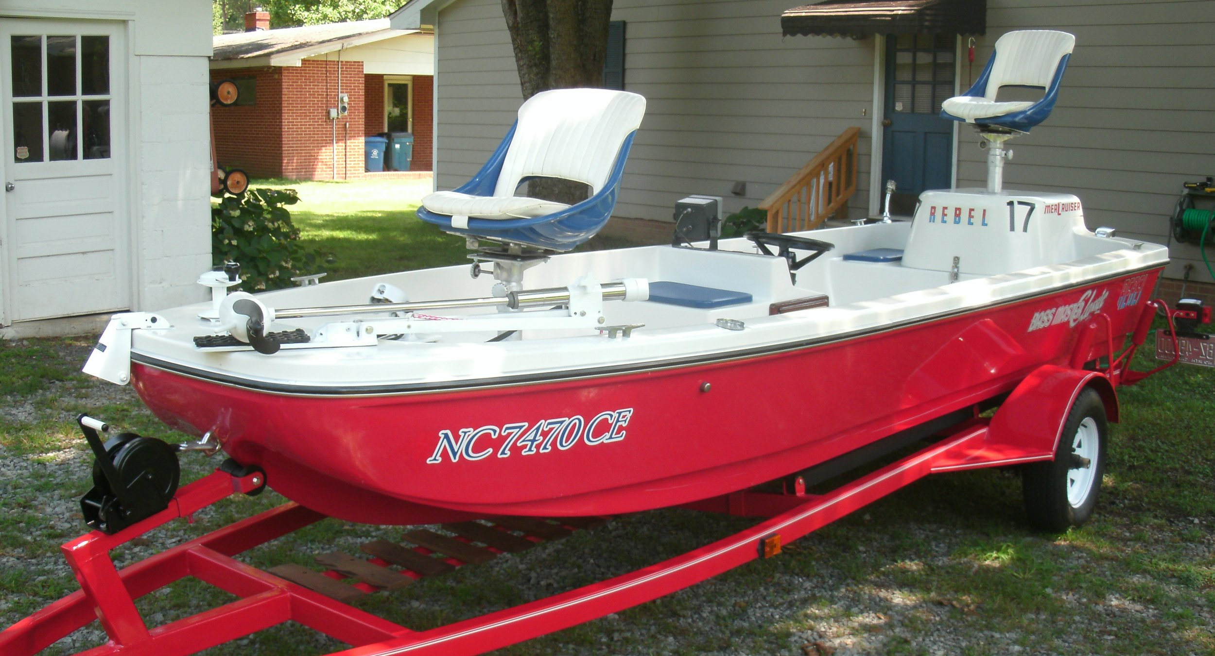 """This fully restored Rebel """"Fastback"""" bass boat owned by fishing enthusiast Doyle Hodgin was used in the first Bassmaster Classic in 1971."""