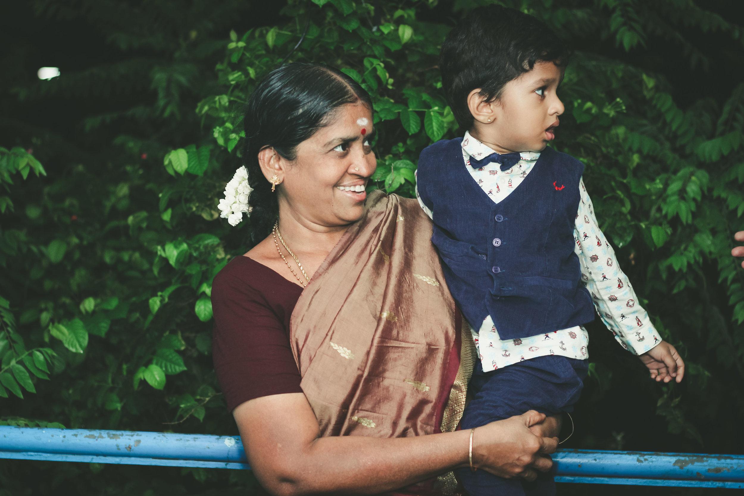 Saathvik with his grandmother during his 2nd birthday celerbation