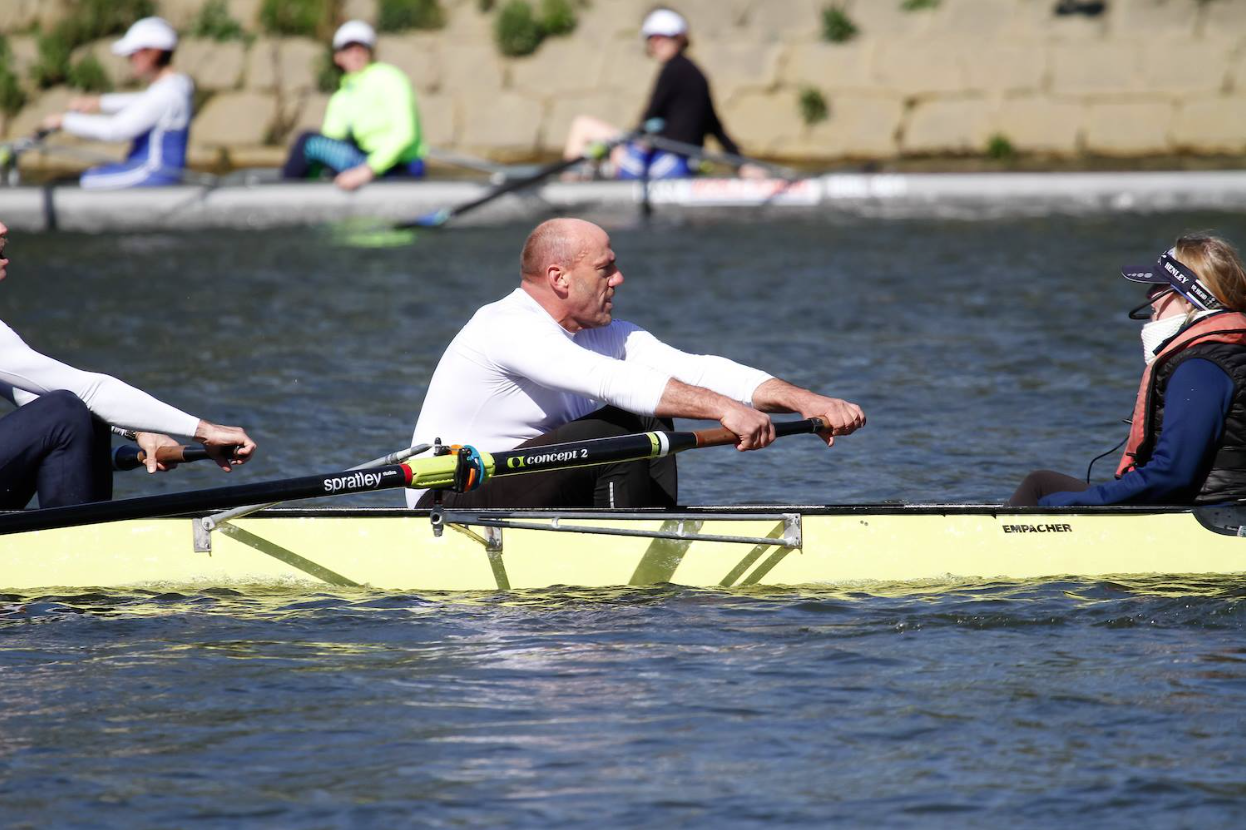 Seven weeks later Jeff was back rowing