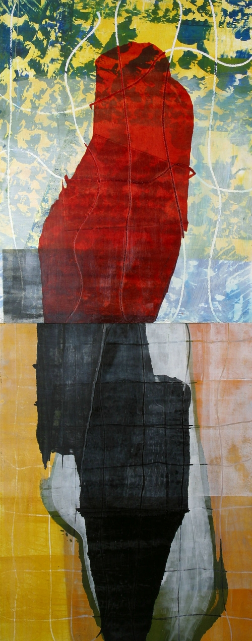 """""""Untitled II"""" (2000), Michael Edwards, monoprint on museum board, 85"""" x 32"""". Part of the National Collection, acquired from the Inaugural National Exhibition. Image courtesy of the NAGB.  The interpretation of abstract art entails an inventiveness that allows you to discover for yourself the meaning behind the work. It's an organic process, it has no equation or set of rules – the art presents itself and you are left with little information to process it. For many, this is unsettling. As humans, we yearn for understanding – we desire clear, detailed instruction. Abstract art provides none of that.  Revolutionary colour field painter Mark Rothko says, """"Art that truly engages us is felt even when you have turned your back on it."""" There's something really special about that – about feeling the sensation of a work beyond its physicality. It's when you can feel the strength of the painting from across the room. You can stand in the space the artist once occupied and imagine him or her in that same spot, debating over the next smear of black or red pour or blue dot. Similarly, Jerry Saltz says, """"Abstraction disenchants, re-enchants, detoxifies, destabilises, resists closure, slows perception, and increases our grasp of the world.""""  Bahamian artist and educator Michael Edwards presents us with """"Untitled II,"""" a monotype that employs the techniques of painting, silk screening and embossing to create a non-objective mixture of intentionally placed colour, line, texture, and pattern. Edwards brilliantly captivates the language of painting in this work, exploring the way in which a mark can exist and how it changes when paired with colours or textures or gradients. How does a translucent red transform when placed next to a deep black or on top of a blue and yellow pattern? Can a sense of unity still be achieved within the diversity of this work through a commonly-shared direction? Although there is great diversity within the work, it follows a vertical orientation, flowing from"""