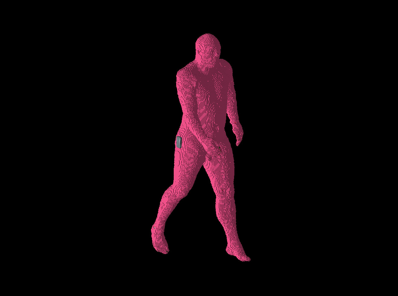 Figure 2: Position 1 of the walking man is shown with the left foot forward and the right arm forward of the phone location.