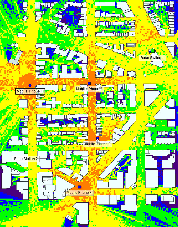 Figure 4: Coverage from base station 1 and the four street level mobile phones.