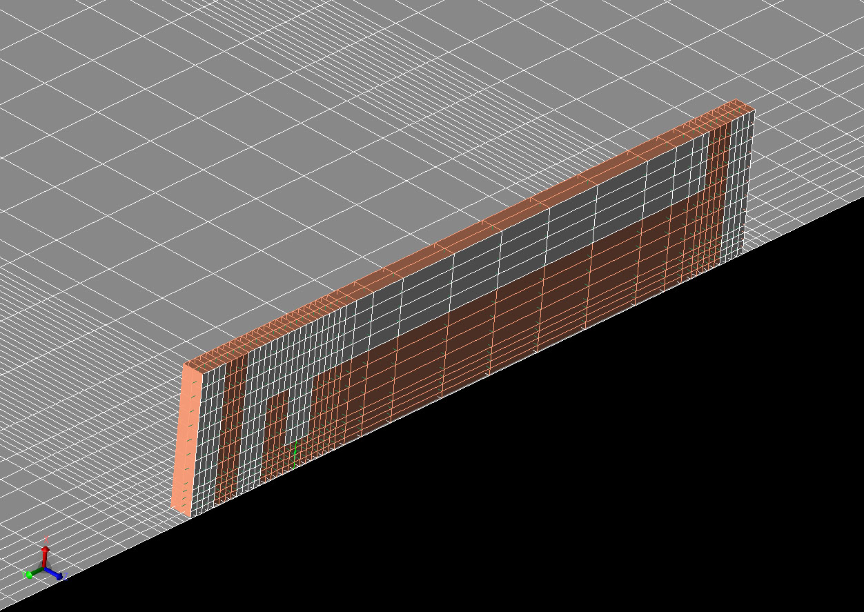 Figure 2: Mesh view of the FDTD cells in the antenna after running the automatic gridding script.