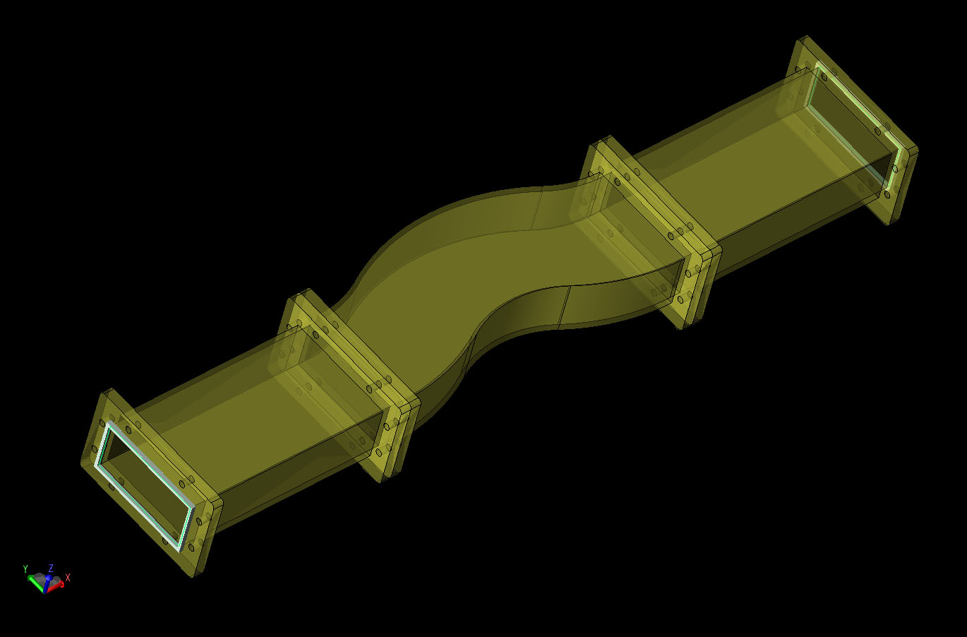 Figure 6  CAD geometry of the tri-bend waveguide mode converter.