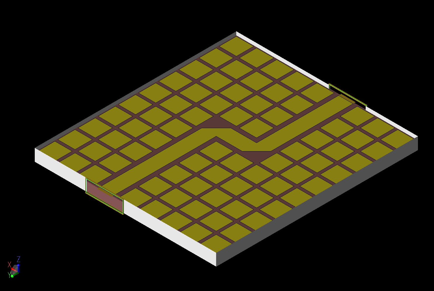 Figure 2  A CAD view of the geometry shown at an angle with the top of the box removed.