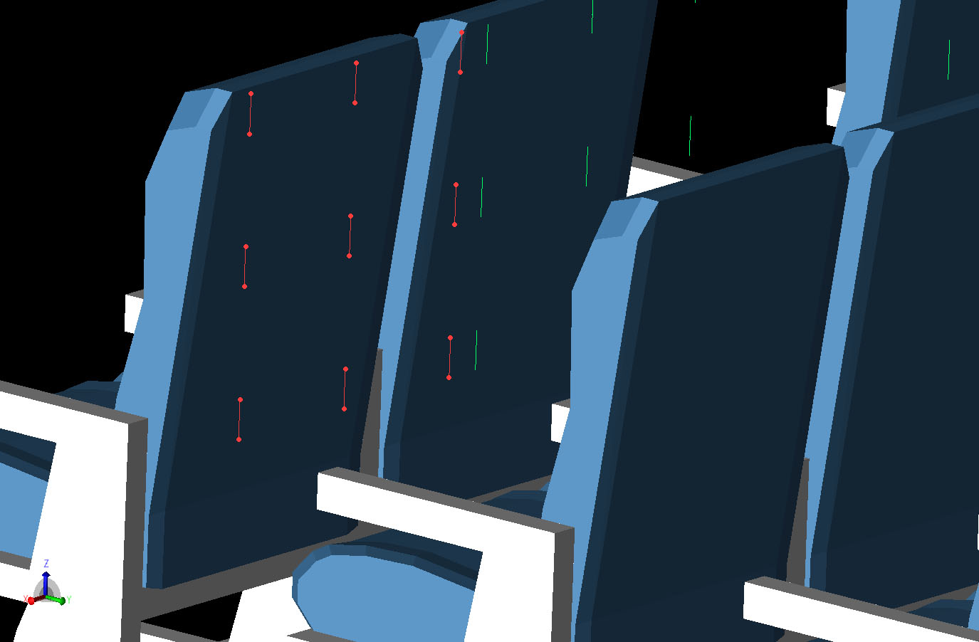 Figure 3  The 3x3 grid of sensor locations defined as dipoles is shown behind one of the seat back locations. The sensor grids are located behind the seats in every other row of the cabin for the first three columns of seats.
