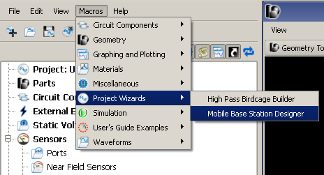 Figure 1  Menu entry to launch the mobile base station designer.