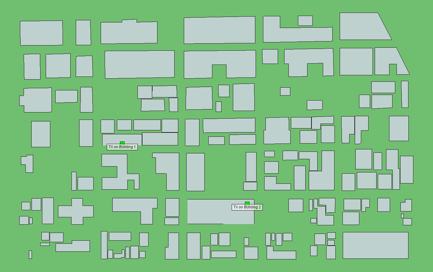 Figure 1  Transmitter locations within an urban environment represented by green boxes.