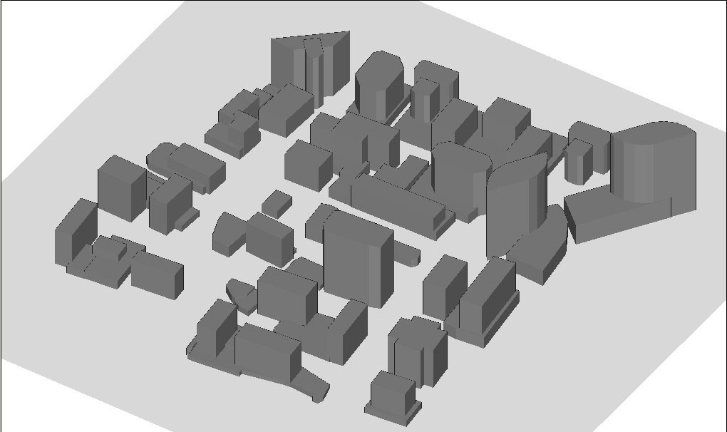 Figure 1  Scenario after the city and terrain files have been opened within Wireless InSite.