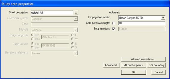 Figure 3. Study area properties window for the UCFDTD run.