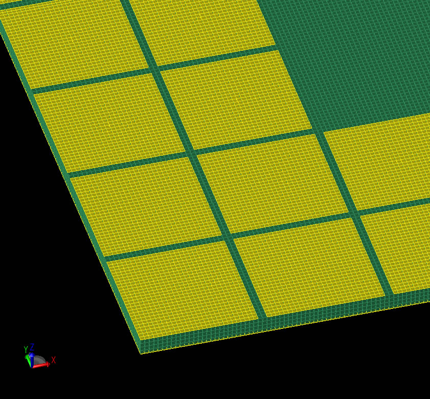 Figure 5: Mesh representation of EBG reflector.
