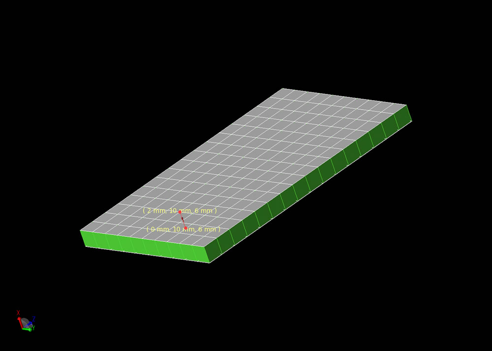 Figure 1: Mesh representation of patch antenna showing offset feed.