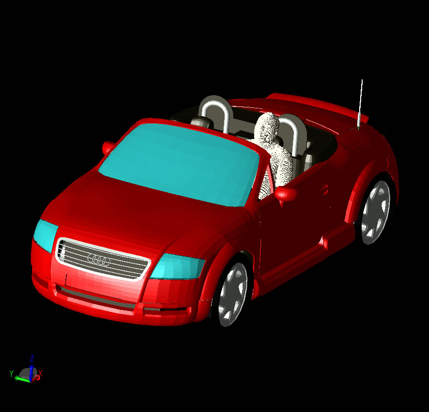 Figure 1: The CAD model of the car with the repositioned human.