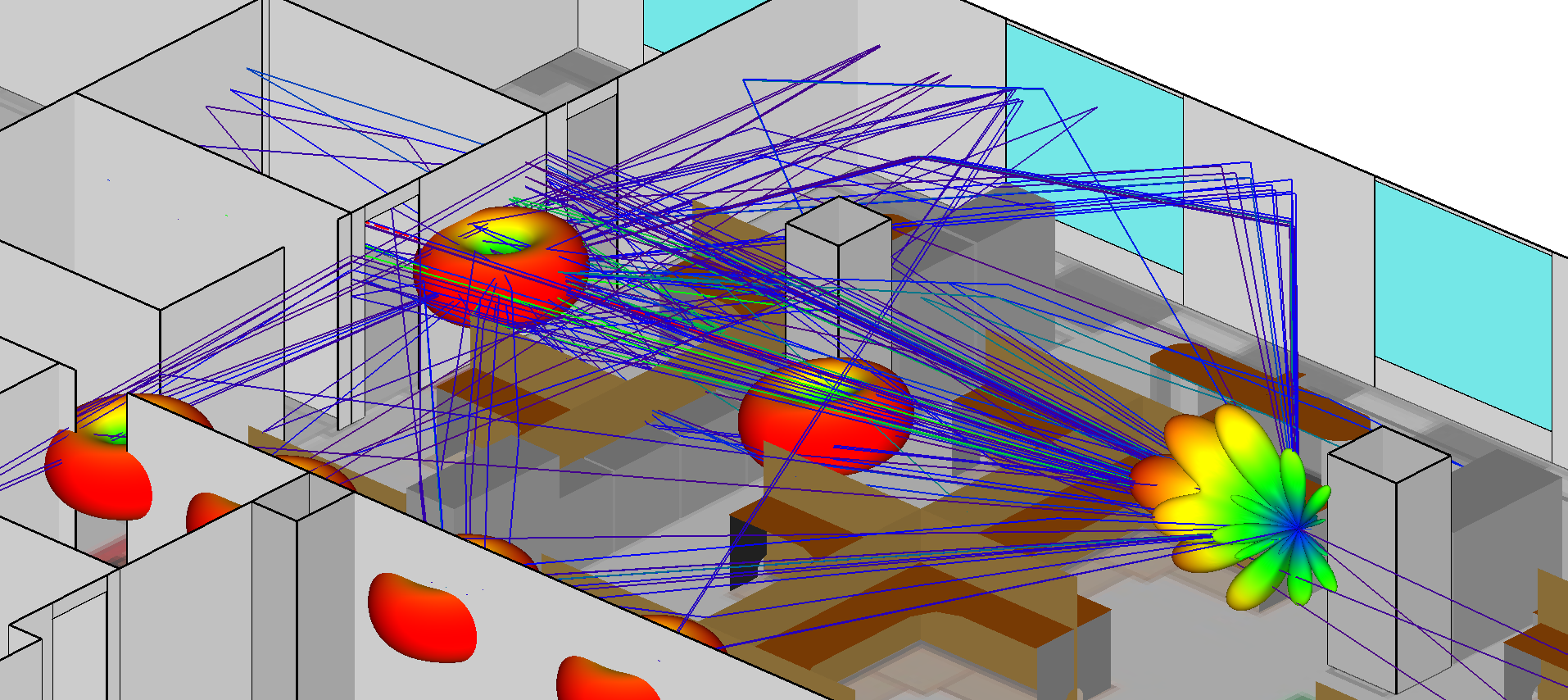 Figure 4a: Specular propagation paths to RX7