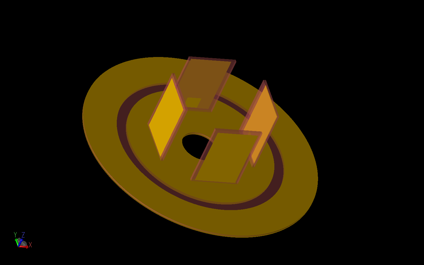 Figure 3: The lower electric monopole array is shown with the four elements arranged on the circular ground plane. There is a small feed patch on the inner side of each element.