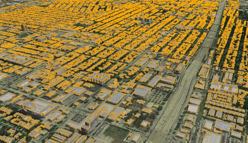 Buildings with vector data with satellite image underlay.