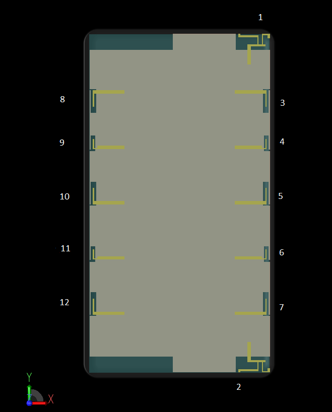 Figure 1: A CAD view of the device in the XFdtd software interface is shown where the screen and all antennas lie in the XY plane. The antenna elements are numbered 1 through 12 around the edge of the device.