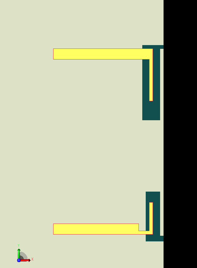 Figure 3: At the top of this view of the XFdtd interface is one of the longer arm open slot (LA) antennas for 3.6 GHz operation on the edge of the device. At the bottom is a shorter arm open slot (SA) antenna for 5.5 GHz use.