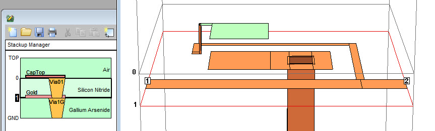 Figure 1: Sonnet layout example including vias on right with cross section of stack up on the left