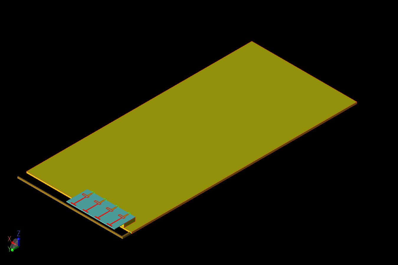 Figure 1: The smartphone design is shown in a three-dimensional CAD representation with the 4G antenna and 5G array structures visible at the left on one end of the large ground plane.