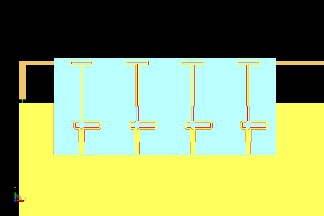 Figure 2: A CAD view of the 5G array showing the four Yagi-Uda elements on a dielectric substrate with the 4G inverted L antenna behind.
