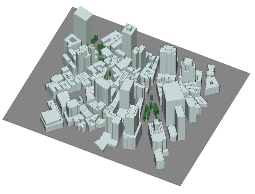 Figure 1: Isometric and overhead view of project geometry in Wireless InSite.