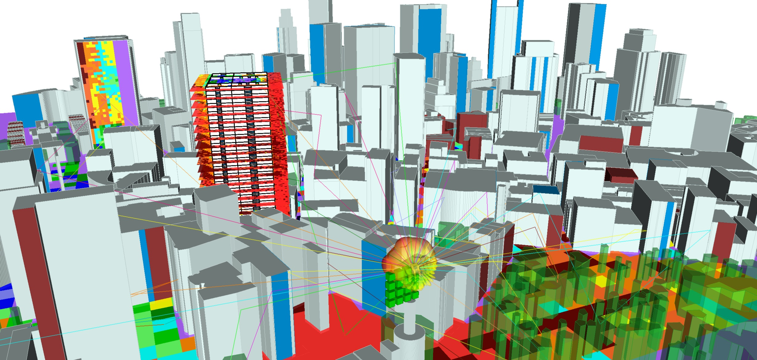Wireless InSite can simulate base stations with MIMO antennas in very complex, three-dimensional dense urban scenes