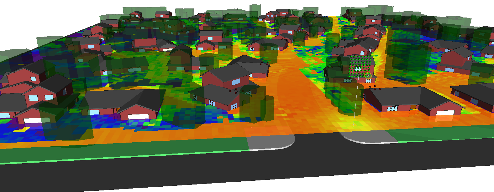 Coverage in neighborhood is significantly affected by shadowing from trees and houses