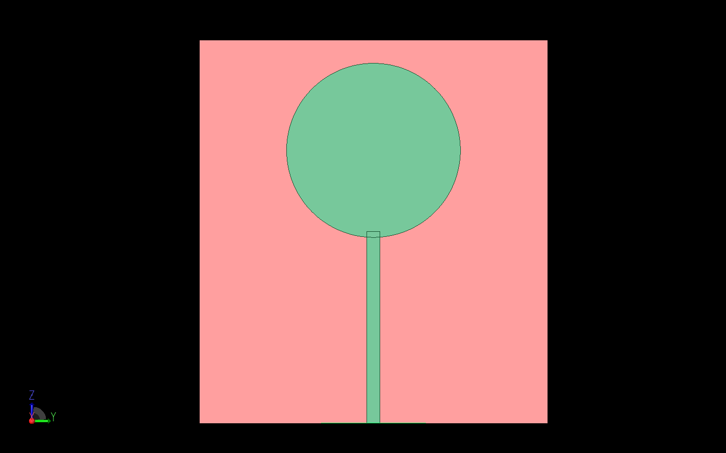Figure 3: The UWB monopole disk antenna is shown as a CAD model in XFdtd.