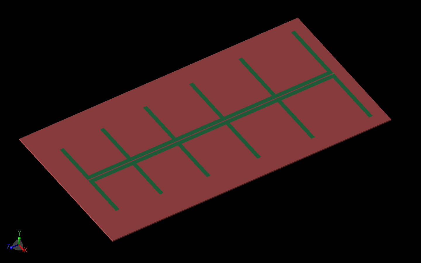 Figure 10: One of the LPDA antenna models is shown in XFdtd.