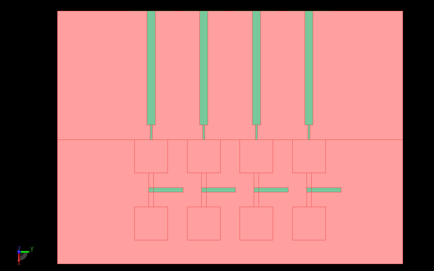 Figure 1: Shown is a top view of the antenna array with the substrate layers shown in red and the metal feed lines and parasitic elements in green. The patches are shown as outlines because they are covered by a second substrate layer.