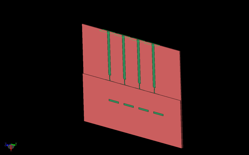 Figure 2: The antenna array is shown in three dimensions with the edge of the top substrate layer more visible over the patches. The four nodal waveguide feed ports are visible on the top of the array.