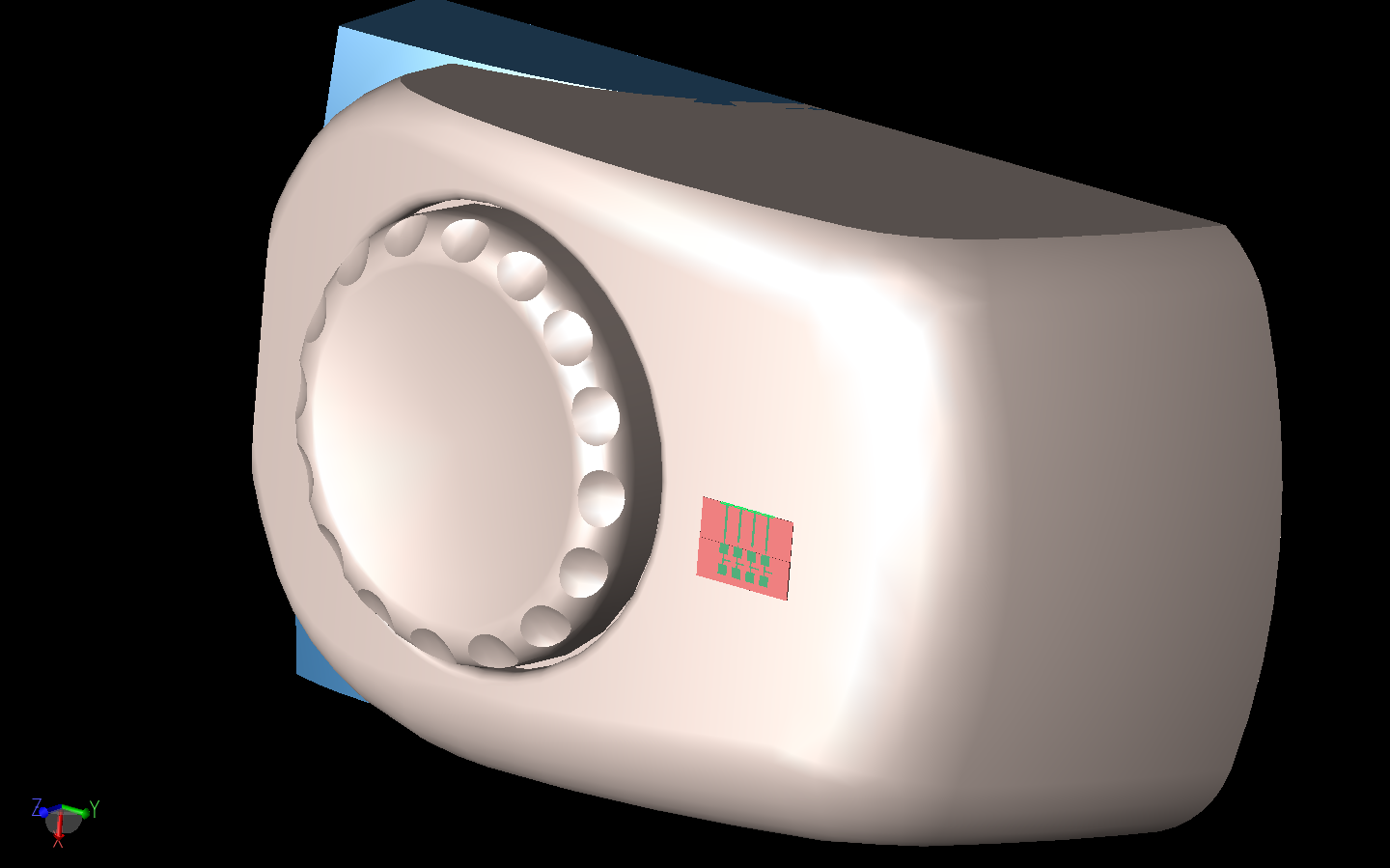 Figure 9: Due to the large size of the problem space, a section of the headset/head model is used for the actual simulations.