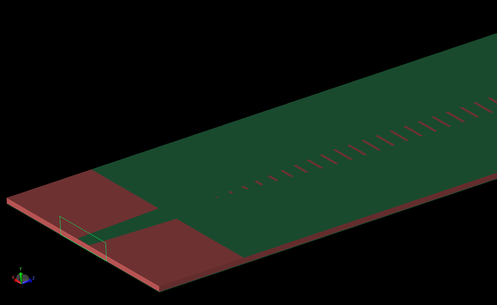 Figure 3: An angled view of the antenna from one port shows the nodal waveguide port attached to the tapered line, the thickness of the substrate layer, and a portion of the slotted top layer.