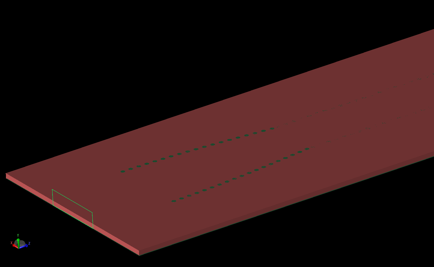 Figure 4: With the top microstrip layer removed, the substrate and some of the vias are visible in the antenna structure.