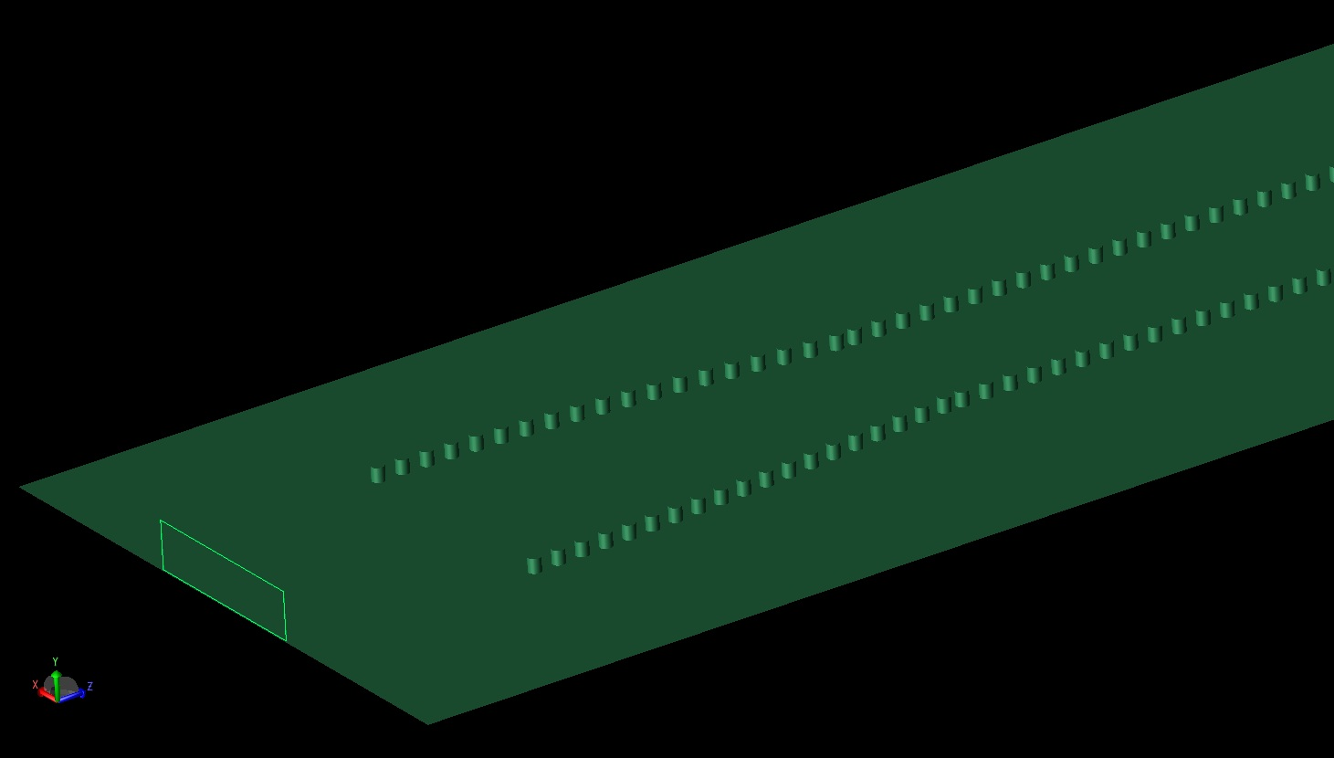 Figure 5: In this figure the substrate layer has been removed and the ground plane and vias are visible.