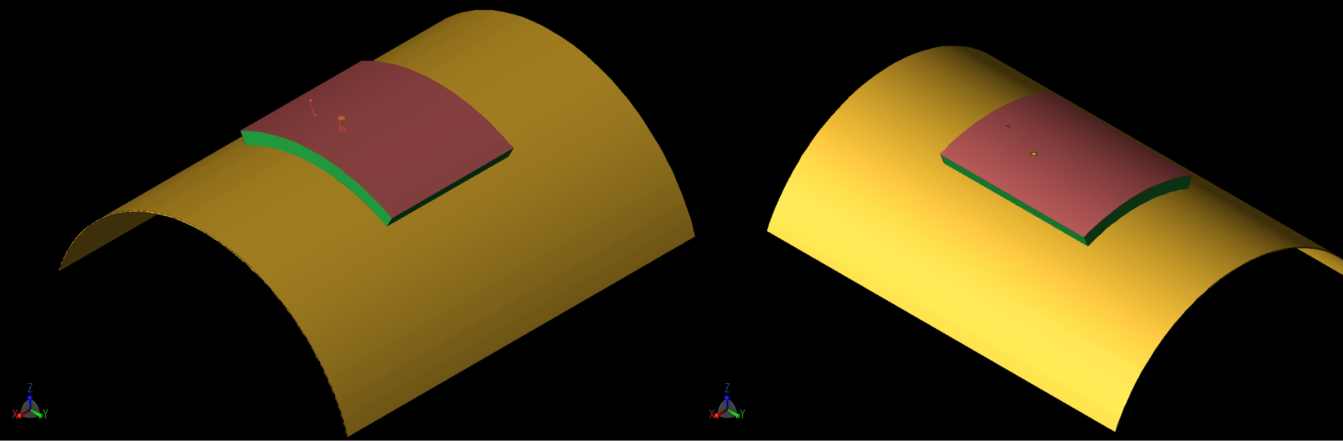 Figure 7: The patch is shown in a curved configuration where the curve radius is 40 mm. At the left (7a) the curvature is around the X axis while at the right (7b) it is around the Y axis. Similar geometries were simulated for a curvature of 80 mm radius.