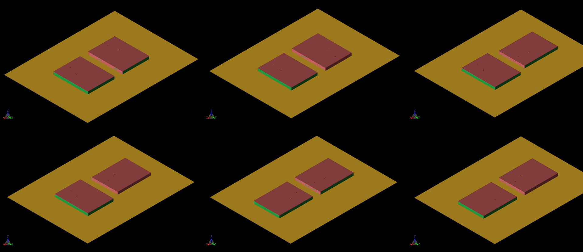 Figure 11: Six configurations of a 1x2 MIMO array were evaluated for performance. In each case, the separation between antenna elements is 10 mm and a shorted side is always facing the adjacent element. The configurations are labeled a, b, and c across the top row and d, e, and f across the bottom. In each case there is some rotation of the elements to change the location of the feed points and the shorting walls.