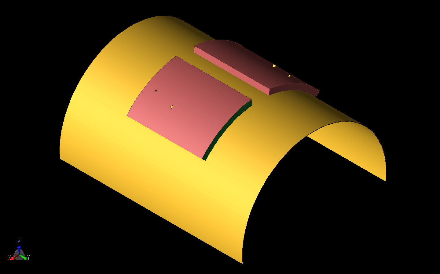 Figure 16: The MIMO array from Figure 11b is shown curved around a cylinder of radius 40 mm about the Y axis.