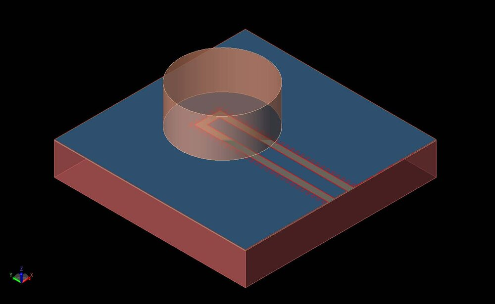 Figure 1:  A three-dimensional view of the on-chip dielectric resonator antenna is visible as a CAD drawing.  The cylindrical resonator is shown above the co-planar waveguide feed.  The silicon base layer is at the bottom.