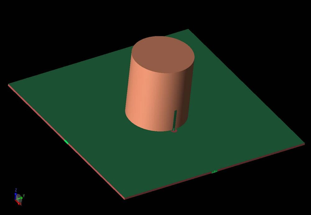 Figure 1:  A three-dimensional CAD view of the antenna geometry shows the DRA cylinder with coaxial probe feed, and the two input ports at the left and right of the substrate are shown in light green.  The second port is fed by a coupled slot in the ground plane.