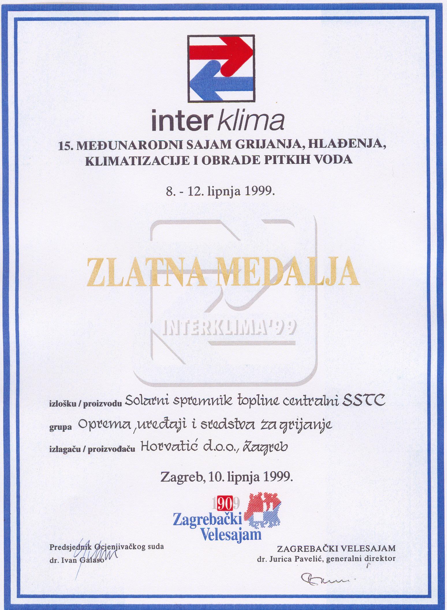 Zlatna medalja na sajmu Interklima 1999. godine.