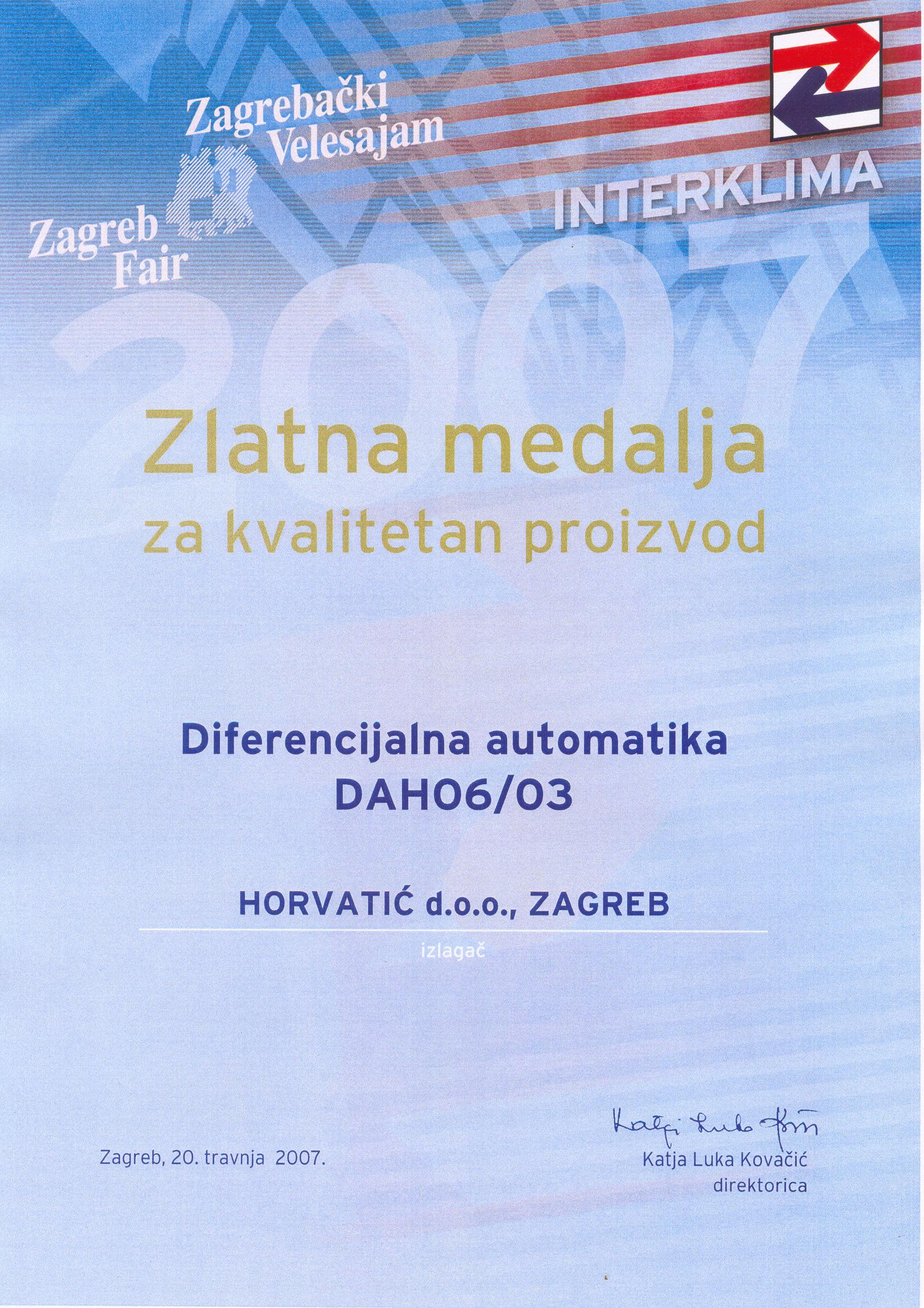 Zlatna medalja na sajmu Interklima 2007. godine.