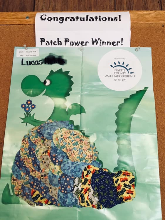 Patch Power sends each child a poster to fill in with their eyepatches every day. At the end of the 50 days, the poster should be full if the child wore their eye patch every day.   Lucas entered his full poster with 50 days of eye patches attached to it into our drawing and won a gift card!   Congratulations Lucas!    Way to wear your eye patches!