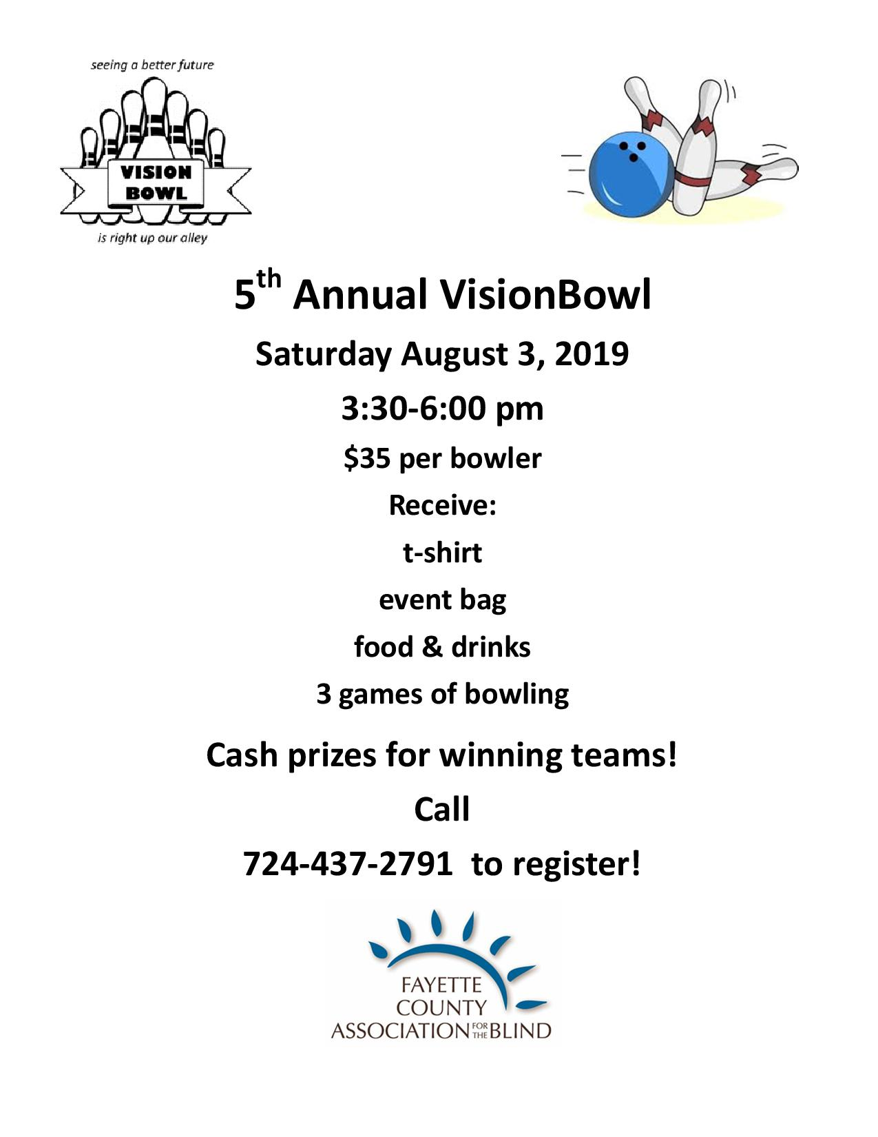 The 5th Annual VisionBowl is scheduled for August 3, 2019. Join us for this fun event!