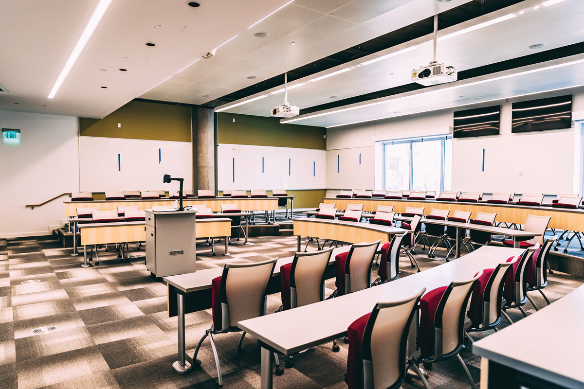 19 Classrooms - There are a total of 19 classrooms — 11 more than in Posner Hall — including eight dedicated to master's programs and eight dedicated to undergraduate programs.