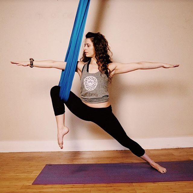 """Don't let the fear of falling keep you from flying"" #Aerial #yoga today at 6 pm! Cardio Fusion yoga @ 4:30pm Jiu jitsu @ 7: 30pm . . #aerialyoga #yogapractice #zen #om #namaste #yogastudio #yogaclass #yogagirl"