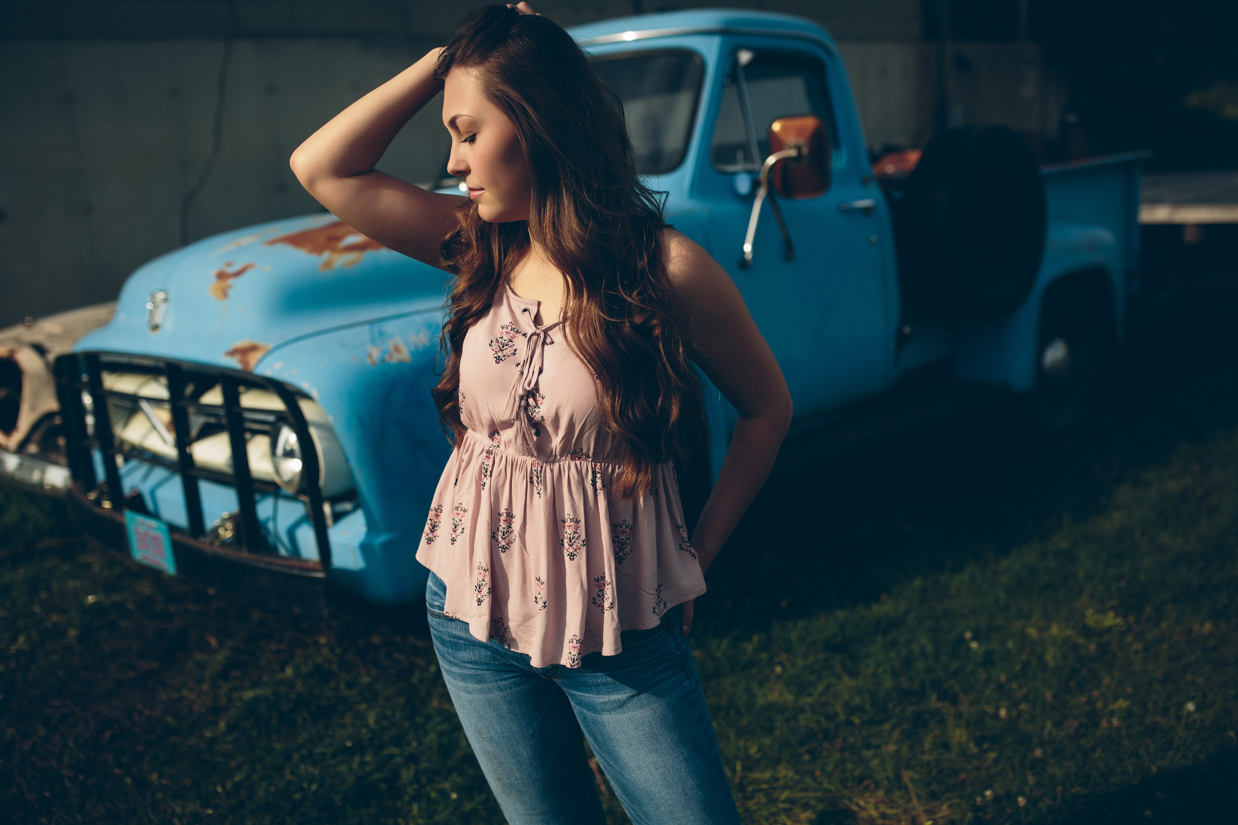 Senior picture with a classic truck Madison, WI.