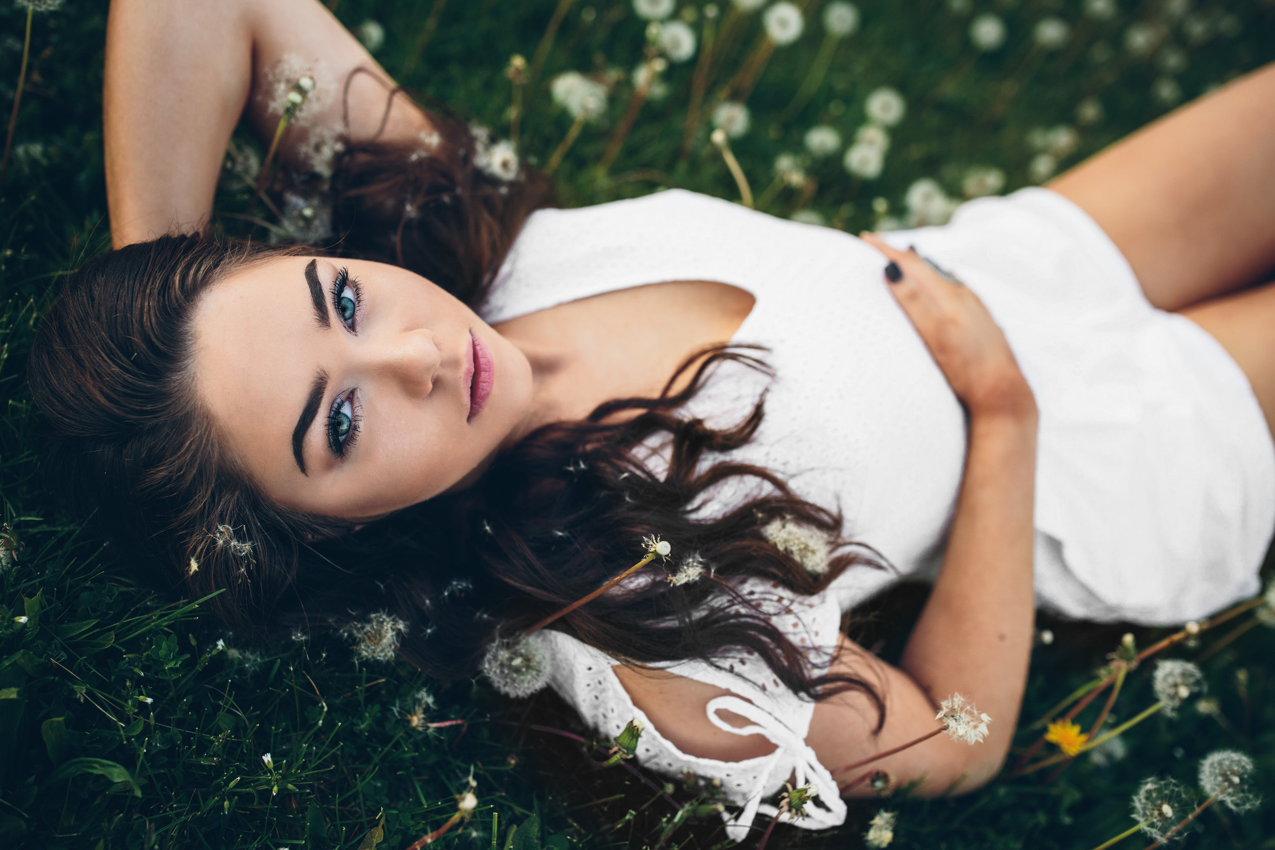 Girl lying down in a field of dandelions. Senior Pictures Madison, WI.